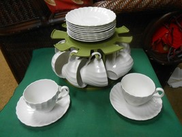 JOHNSON BROS.England Ironstone SNOW WHITE Regency Swirl ..11 CUPS & SAUCERS - $55.03