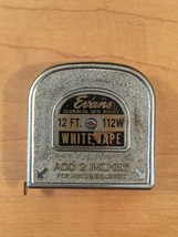 Vintage 50s Evans 12 foot White Tape, 112w, tape measure image 4