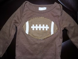 Mud Pie Baby Toddler Boys' Football Sports Long Sleeve Brown Shirt Size 0/6M - $14.82