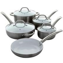 Oster Montecielo 9 Piece Aluminum Cookware Set in Metallic Titanium - $109.91