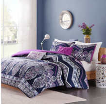 Intelligent Design Cozy Comforter Casual  Design Modern All Season Bedding,purpl image 1