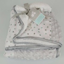 Just Born Color Block Patchwork White Gray Minky Dot Lovey Sherpa Baby B... - $69.29
