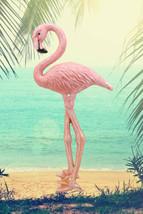 Tropical Rainforest Paradise Pink Flamingo Bird Cast Iron Wall Decor Pla... - $26.99