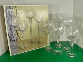 Pfaltzgraff Every Day Tall Votive Glass Candle Holder (s) SET OF 5 Footed - $49.45