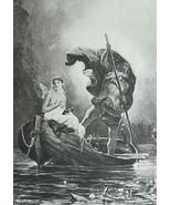 NUDE Psyche in Boat of Charon River Styx - 1893 Victorian Era Print - $21.60