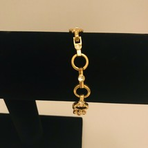 "Avon Sparkling Goldtone Circle Link 7"" -8"" Adjustable Tennis Bracelet J0727 - $15.20"