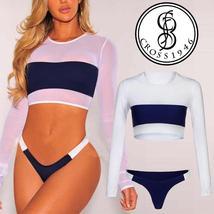 Hot Women Mesh Long Sleeve Bikini Set Push-Up Padded Bra Beach Swimsuit Swimwear image 3