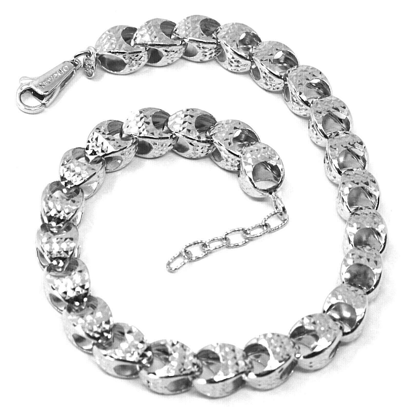 Primary image for 18K WHITE GOLD BRACELET, BIG ROUNDED DIAMOND CUT OVAL DROPS 6 MM, ROUNDED