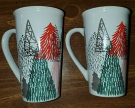 STARBUCKS Set of 2 2018 Christmas Trees Winter Holiday 14 Oz Mug Cup Col... - $17.33