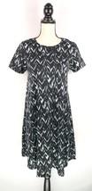 LuLaRoe Carly Dress Womens Sz XS Black Gray White Print Short Sleeve Hig... - $29.69