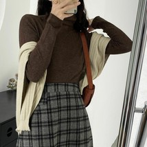 Turtleneck Elastic Pullover Type Long Sleeve Sweater For Women Autumn Wi... - $36.99