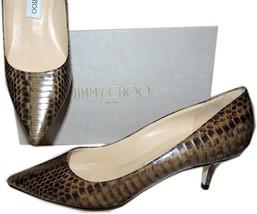 Jimmy Choo Aza Snake Python Leather Pump Pointy Toe Low Kitten Heel Shoe... - $378.00