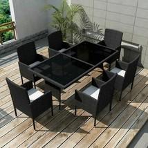 vidaXL Outdoor Dining Set 13 Pieces Poly Rattan Wicker Black Garden Chai... - $407.99