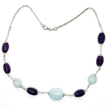 925 Silver Necklace, Oval Amethyst, Aquamarine Disk and spheres, Choker image 1