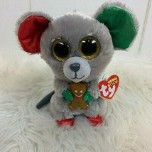 TY Beanie Boos Mac Christmas Mouse Holiday Plush Toy Gingerbread 100% Ty Silk  - $24.70