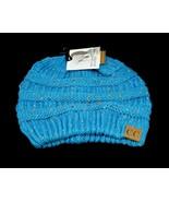CC Beanie Tail Messy High Bun Ponytail Hat Knit Beanie Cap Hole Teal Con... - $9.95
