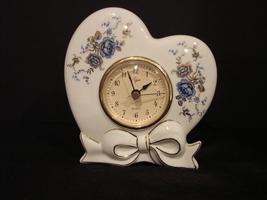Elegant  Elgin White Porcelain Blue Rose Floral Brass Rim Clock - $22.00