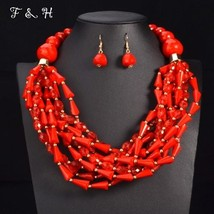 UDDEIN African Beads Jewelry Sets Statement necklace & pendant bib beads... - $21.92