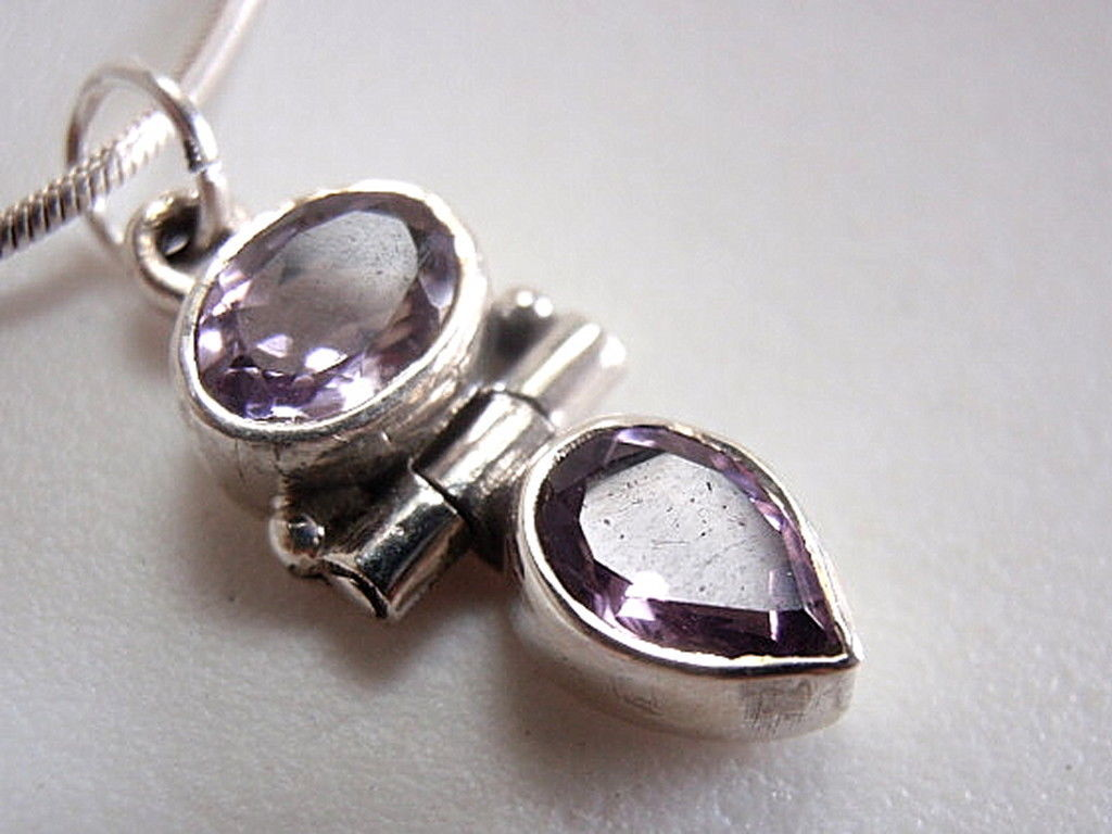 Primary image for New Faceted Amethyst Teardrop Sterling Silver Necklace