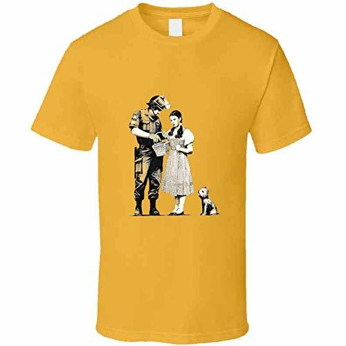 Tremendous Designs Dorothy and Police Bansky T Shirt L Gold