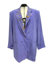 Diane Gilman women's blazer silk one button front lavender purple size 2X - $28.70