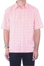 M NWT Joseph Abboud Orange Checked/Plaid Short Sleeve Cotton Gingham Shi... - $108.38 CAD