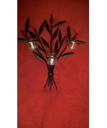 Metal & Glass Wall Candle Holder, Leaf Wall Sconce-Three Candle Holder - $29.69