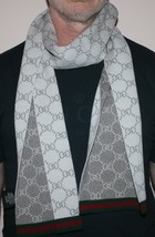 Nwt Gucci Gg Guccissima Web Striped Reversable Wool Scarf 325806 - $232.65
