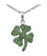 "18"" SILVER PLATED CRYSTAL SHAMROCK CLOVER NECKLACE ST PATRICKS DAY IRISH... - $20.31"