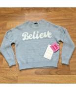 nikka k Sweater Womens Small Blue Long Sleeve Fuzzy Believe READ - $17.42
