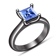 Solitaire Engagement Ring Princess Cut Blue Sapphire Black Gold Over 925... - $75.99