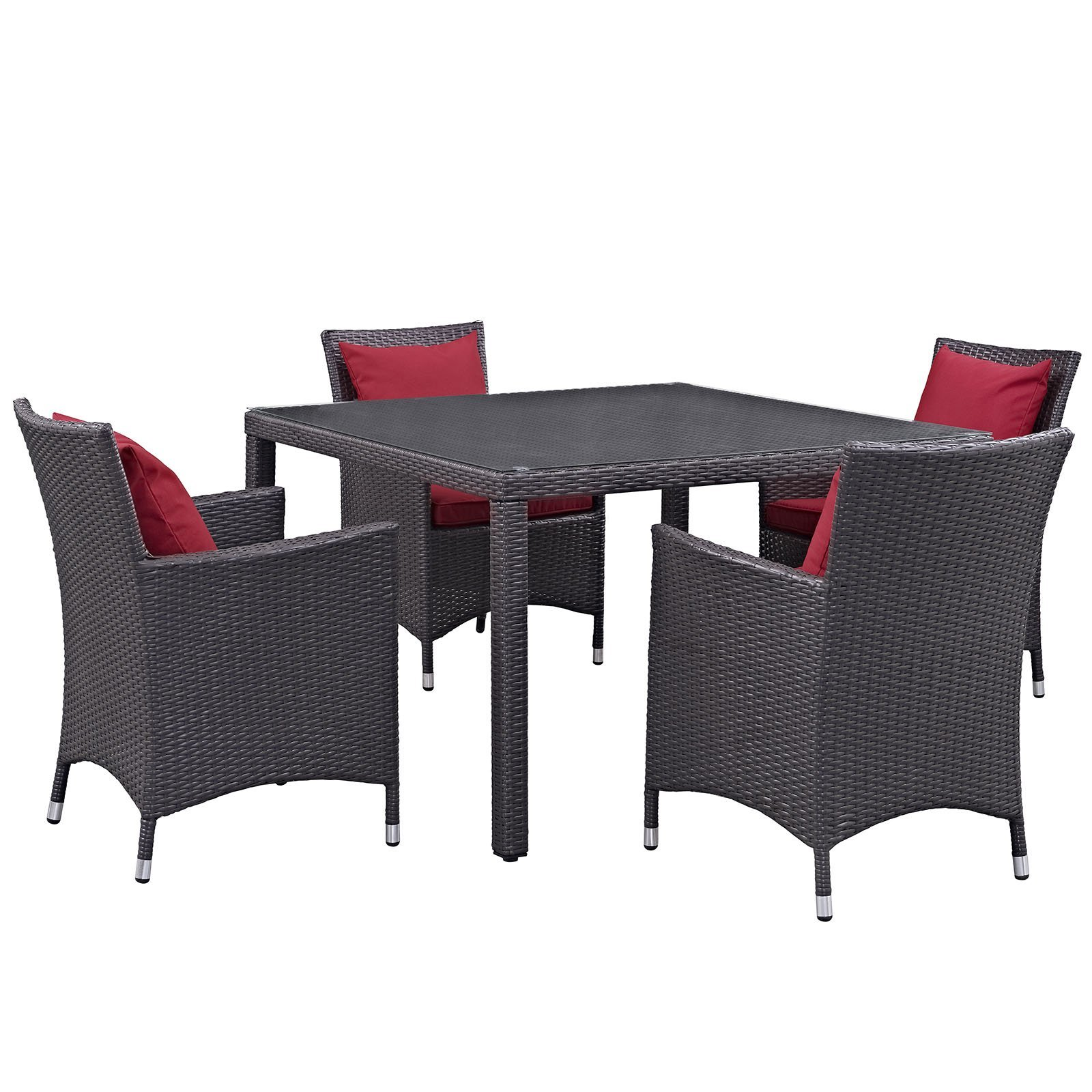 Convene 5 Piece Outdoor Patio Dining Set Espresso Red EEI-2191-EXP-RED-SET