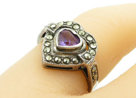 925 Silver - Vintage Amethyst & Marcasite Love Heart Band Ring Sz 7 - R1... - $25.19