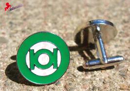 Green Lantern Silver Finish Cufflinks – Wedding, Father's Day, Graduation, Birth - $3.95