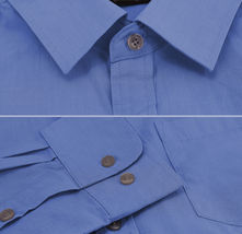 Men's Dark Blue Cotton Long Sleeve Collared Plaid Button Up Dress Shirt - M image 3