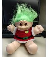 "Plush Santa Troll Doll Vintage Russ Christmas Troll 12"" Green Hair Plast... - $49.99"