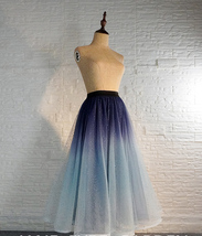 Women Frozen Blue Tulle Skirt Outfit Multi-Color Plus Size Wedding Party Skirt image 8