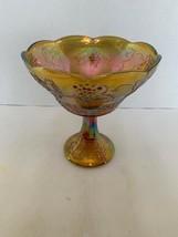 Vintage IRIDESCENT Marigold CARNIVAL GLASS PEDESTAL BOWL GRAPES & LEAF 8... - $20.00
