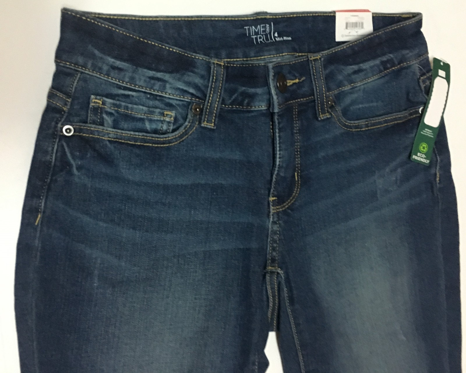 Time & True Women's Bermuda Jean Shorts Mid Rise Sz 4