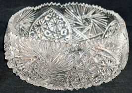 ABP American Brilliant Period Cut Glass Bowl Concave Bottom Inward Slope... - $124.95