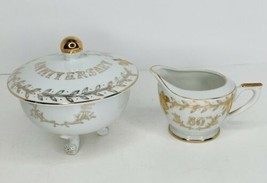 Lefton China 50th Anniversary Creamer & Candy Dish w/Lid Gold NO Chips/C... - $25.73