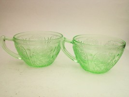 Cherry Blossom Jeannette Tea Cup Green Depression Glass 1930-1939 Desser... - $28.74