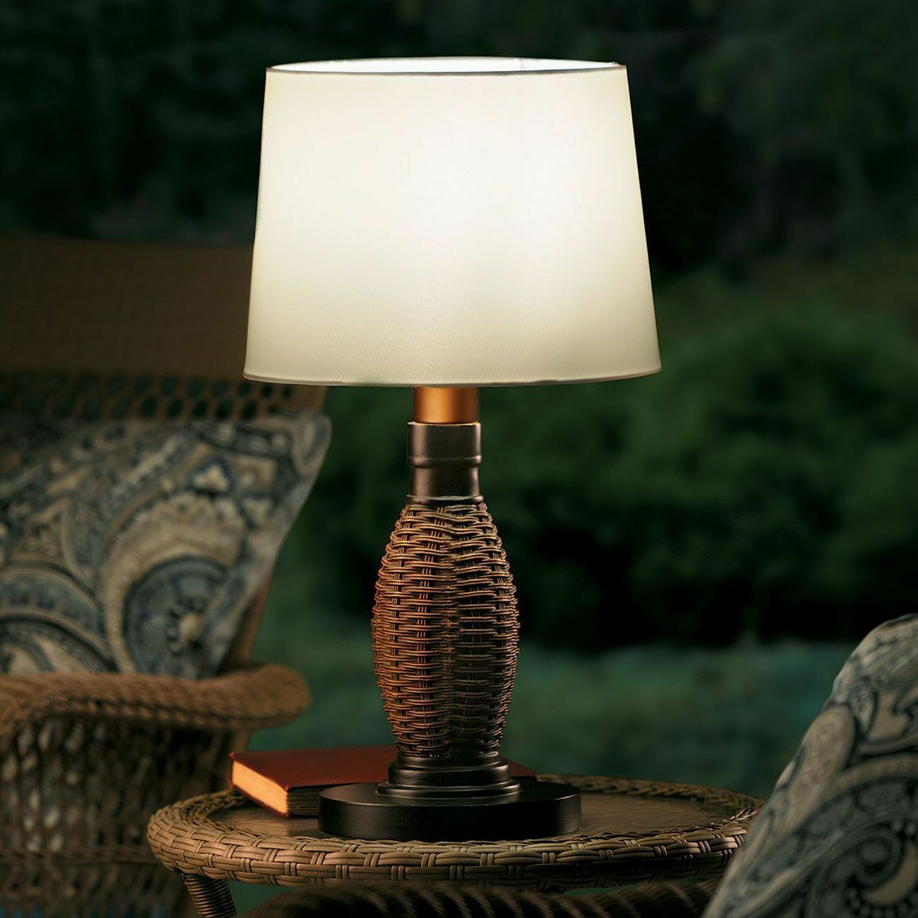 """26"""" Faux Wicker Table Lamp + Shade Battery LED 3-Way All Weather Outdoor Light"""