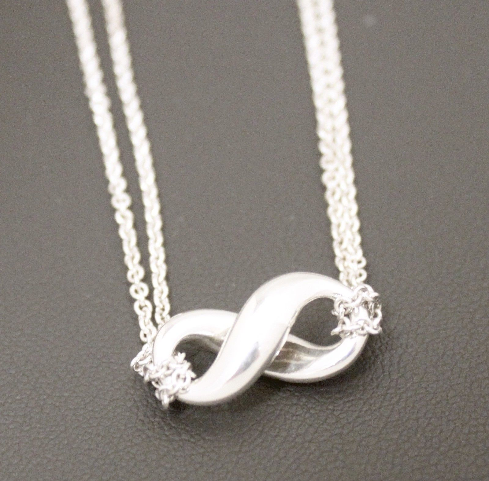 """81002dd8a S l1600. S l1600. Previous. Tiffany & Co. Sterling Silver 925 Infinity 16"""" Double  Strand Pendant"""