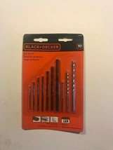 Black + Decker 10-PCS Drill Bit Set General Purpose Black Oxide • Masonry • Sni - $8.90