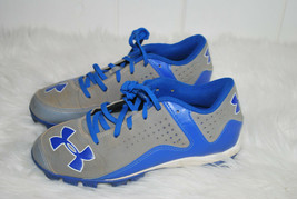 Under Armour Baseball Cleats Shoes Youth Boys Size 3 Y Royal Blue Gray White  - $34.60