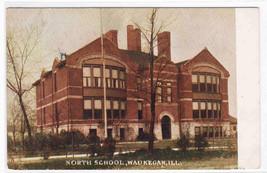 North School Waukegan Illinois 1909 postcard - $4.46