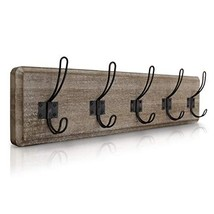 "HBCY Creations Rustic Coat Rack - Wall Mounted Brown Wooden 24"" Entryway Coat Ho"