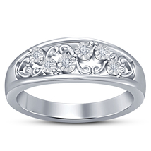 10k White Gold Plated 925 Silver Round Cut Diamond Women's Engagement Ba... - $72.99