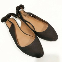 Lucky Brand   Womens 7 Black Suede Alixis Slingback Tie Bow Back Flats - $16.68